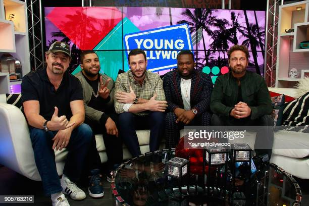Christian Gudegast O'Shea Jackson Jr Pablo Schreiber Curtis '50 Cent' Jackson and Gerard Butler visit the Young Hollywood Studio on January 16 2017...