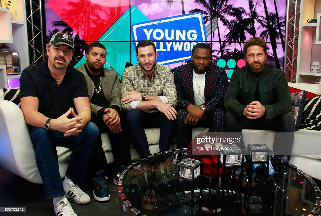 Christian Gudegast, O'Shea Jackson Jr., Pablo Schreiber, Curtis '50 Cent' Jackson and Gerard Butler visit the Young Hollywood Studio on January 16, 2017 in Los Angeles, California.