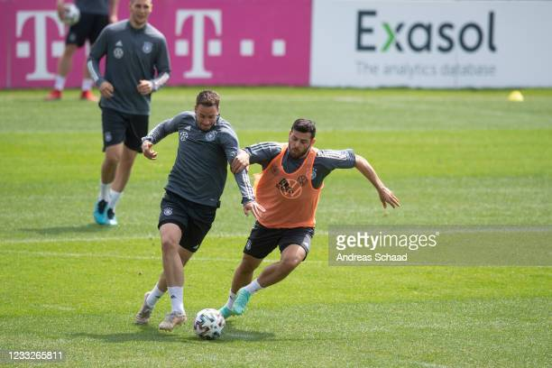 Christian Guenter and Kevin Volland in action during Day 8 of the Germany training camp ahead of the UEFA EURO 2020 on June 04, 2021 in Seefeld in...