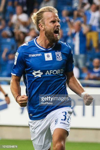 Christian Gytkjaer celebrates his first goal during UEFA Europa League Second Qualifying Round 2st leg match between Lech Poznan and Shakhtior...