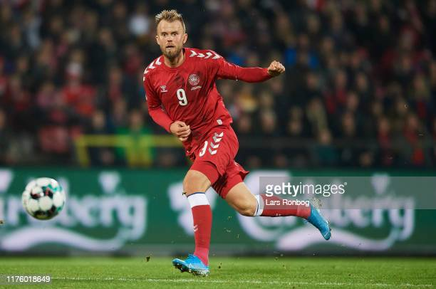 Christian Gytkjar of Denmark in action during the international friendly match between Denmark and Luxembourg at Aalborg Portland Park on October 15,...