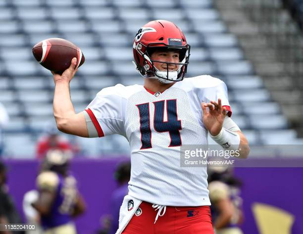 Christian Hackenberg of Memphis Express against the Atlanta Legends during their game at Georgia State Stadium on March 10, 2019 in Atlanta, Georgia....