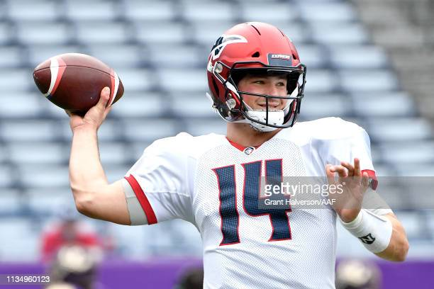 Christian Hackenberg of Memphis Express warms up prior to the Alliance of American Football game against the Atlanta Legends at Georgia State Stadium...