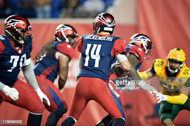 Christian Hackenberg of the Memphis Express drops back to pass behind his offensive line during a game against the Arizona Hotshots at the Liberty...