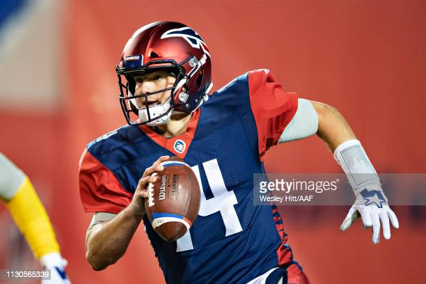 Christian Hackenberg of the Memphis Express runs the ball during a game against the Arizona Hotshots at the Liberty Bowl Memorial Stadium on February...