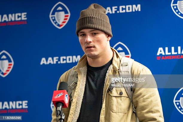 Christian Hackenberg of the Memphis Express talks to reporters at a press conference after a game against the Arizona Hotshots at the Liberty Bowl...