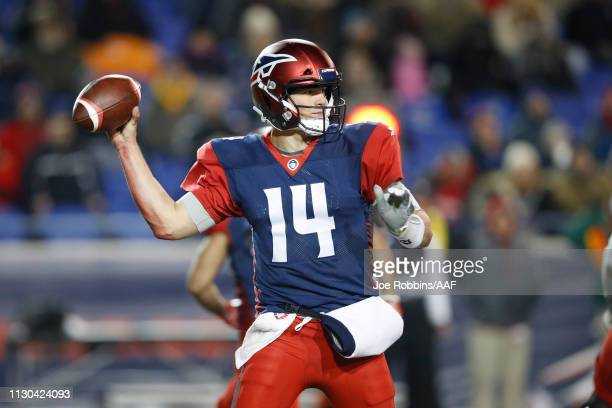 Christian Hackenberg of the Memphis Express throws a pass during an Alliance of American Football game against the Arizona Hotshots at Liberty Bowl...
