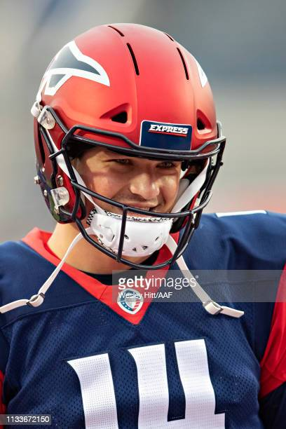 Christian Hackenberg of the Memphis Express warms up before a game against the San Diego Fleet at the Liberty Bowl Memorial Stadium on March 1, 2019...