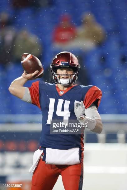 Christian Hackenberg of the Memphis Express warms up prior to an Alliance of American Football game against the Arizona Hotshots at Liberty Bowl...
