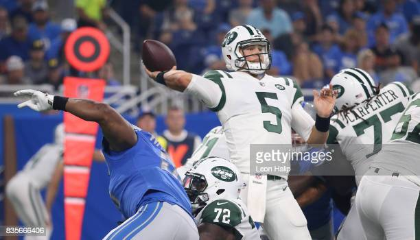 Christian Hackenberg of the New York Jets drops back to pass during the first quarter of the preseason game against the Detroit Lions on August 19,...