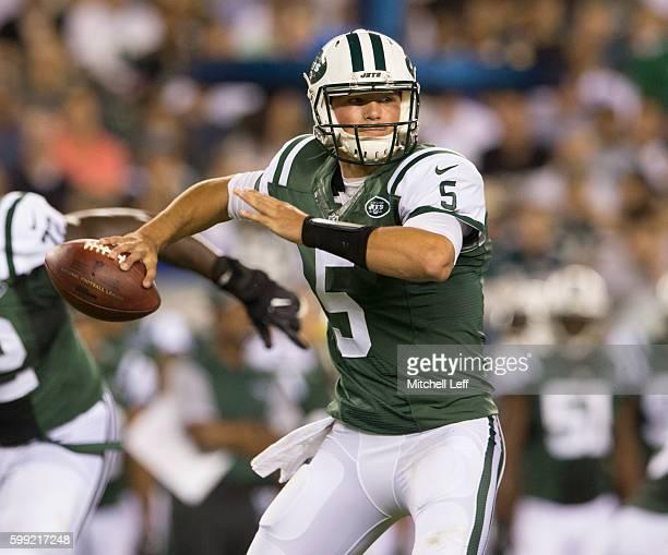 Christian Hackenberg of the New York Jets plays against the Philadelphia Eagles at Lincoln Financial Field on September 1, 2016 in Philadelphia,...