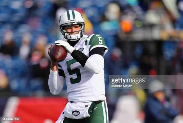 Christian Hackenberg of the New York Jets warms up before the game against the New England Patriots at Gillette Stadium on December 31, 2017 in...