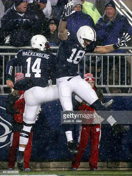 Christian Hackenberg of the Penn State Nittany Lions celebrates after rushing for a touchdown the second half against the Nebraska Cornhuskers during...