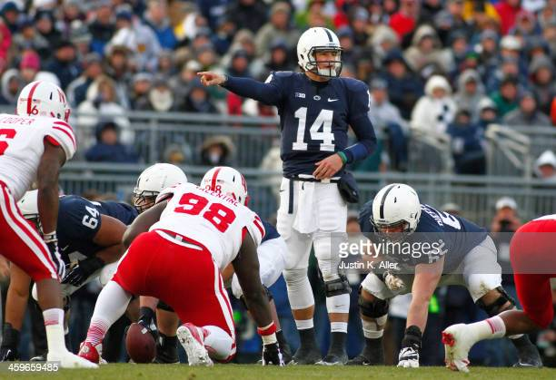 Christian Hackenberg of the Penn State Nittany Lions directs the offense to pass against the Nebraska Cornhuskers during the game on November 23 2013...