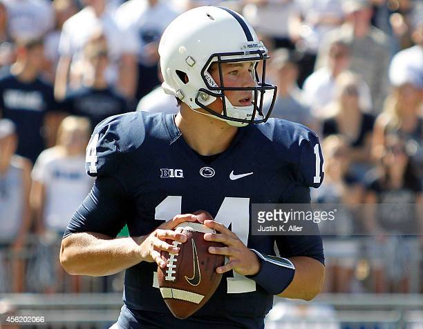 Christian Hackenberg of the Penn State Nittany Lions drops back to pass in the first half against the Northwestern Wildcats during the game on...