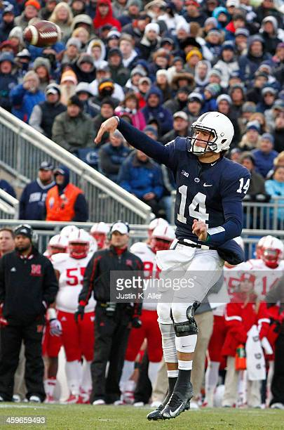 Christian Hackenberg of the Penn State Nittany Lions drops back to pass against the Nebraska Cornhuskers during the game on November 23 2013 at...
