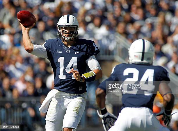 Christian Hackenberg of the Penn State Nittany Lions drops back to pass during the game against the Indiana Hoosiers on October 10 2015 at Beaver...