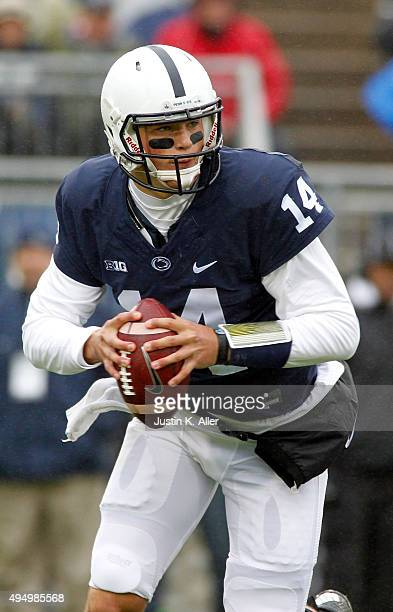 Christian Hackenberg of the Penn State Nittany Lions in action during the game against the Army Black Knights on October 3, 2015 at Beaver Stadium in...