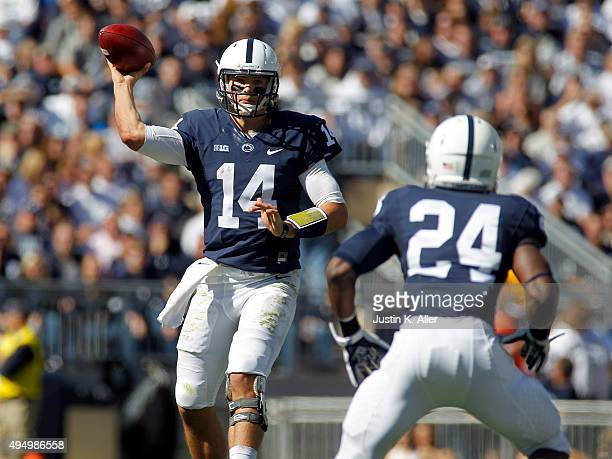 Christian Hackenberg of the Penn State Nittany Lions in action during the game against the Indiana Hoosiers on October 10, 2015 at Beaver Stadium in...