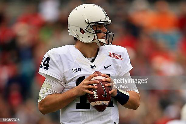 Christian Hackenberg of the Penn State Nittany Lions in action during the TaxSlayer Bowl game against the Georgia Bulldogs at EverBank Field on...