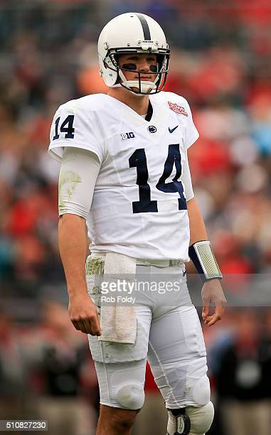 Christian Hackenberg of the Penn State Nittany Lions looks on during the TaxSlayer Bowl game against the Georgia Bulldogs at EverBank Field on...