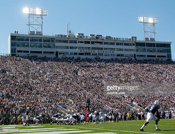 Christian Hackenberg of the Penn State Nittany Lions prepares to take the snap during the game against the Northwestern Wildcats on September 27 2014...