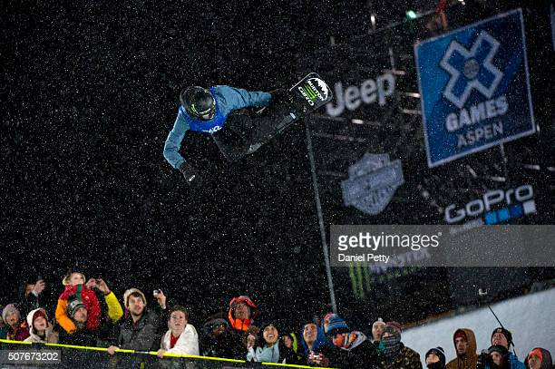 Christian Haller of Switzerland competes in his first run during the men's snowboard halfpipe at Winter X Games 2016 Aspen at Buttermilk Mountain on...