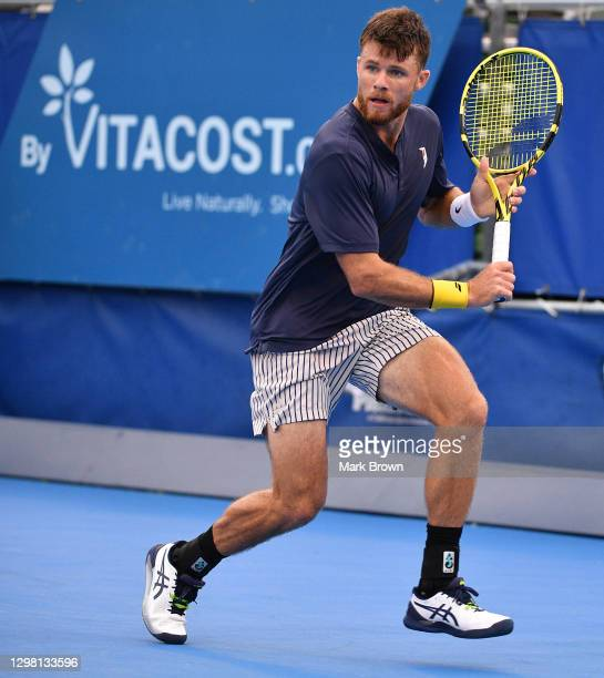 Christian Harrison in action against Hubert Hurkacz of Poland during the Semifinals of the Delray Beach Open by Vitacost.com at Delray Beach Tennis...