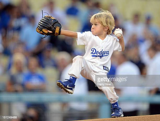 Christian Haupt throws the ceremonial first pitch before the game before between the San Diego Padres and the Los Angeles Dodgers at Dodger Stadium...