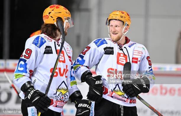 Christian Hilbrich and Stanislav Dietz of the Fischtown Pinguins after the game between the Duesseldorfer EG and the Fischtown Pinguins Bremerhaven...