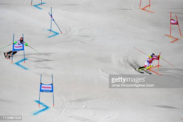 Christian Hirschbuehl of Austria in action, Alexis Pinturault of France in action during the Audi FIS Alpine Ski World Cup Men's and Women's City...