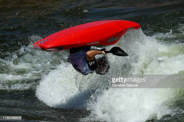 Christian Hliounakis of Australia competes in the Freestyle Oceania Championship during the 2019 Australian Canoe Slalom Open on February 17 2019 in...