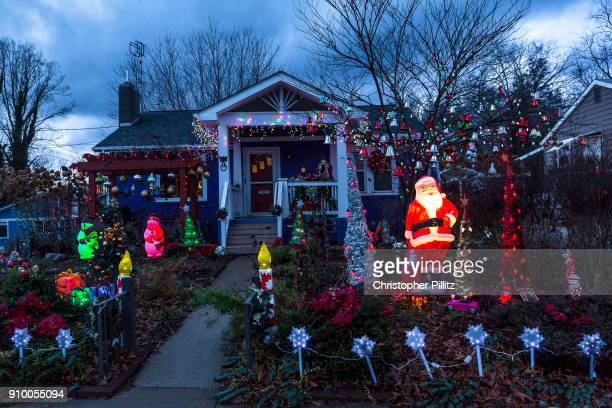 A Christian home celebrates the arrival of the festive Christmas season with a fine display of lights and illuminations near Asheville North Carolina...