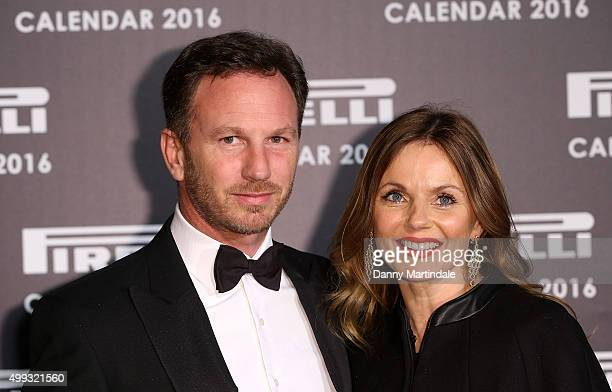 Christian Horner and Geri Halliwell attend a gala evening to celebrate the Pirelli calendar 2016 by Annie Leibovitz at The Roundhouse on November 30,...
