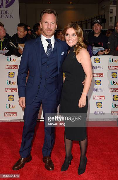 Christian Horner and Geri Halliwell attend the Pride of Britain awards at The Grosvenor House Hotel on September 28 2015 in London England