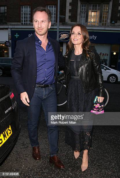 Christian Horner and Geri Halliwell attending The Rolling Stones 'Exhibitionism' private view at the Saatchi Gallery on April 4 2016 in London England