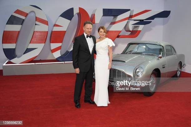 """Christian Horner and Geri Horner aka Ginger Spice attend the World Premiere of """"No Time To Die"""" at the Royal Albert Hall on September 28, 2021 in..."""