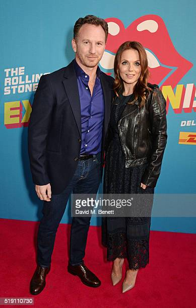 Christian Horner and Geri Horner attend a private view of 'The Rolling Stones Exhibitionism' at The Saatchi Gallery on April 4 2016 in London England