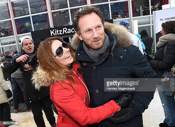 Christian Horner and girlfriend Geri Halliwell attend the Hahnenkamm Race on January 24 2015 in Kitzbuehel Austria