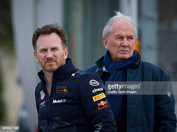 Christian Horner Red Bull Racing Team Principal and Dr Helmut Marko during day three of F1 Winter Testing at Circuit de Catalunya on March 8 2018 in...