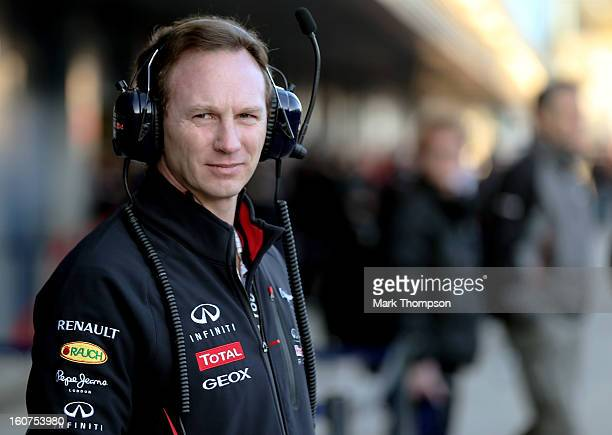 Christian Horner Team Principal of Red Bull Racing watches from the pitlane during Formula One winter testing at Circuito de Jerez on February 5 2013...