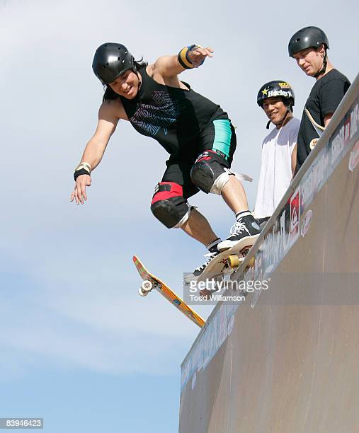 Christian Hosoi skates at the Quiksilver Tony Hawk All 80s All Day Vert Challenge at Quiksilver on December 6 2008 in Huntington Beach California