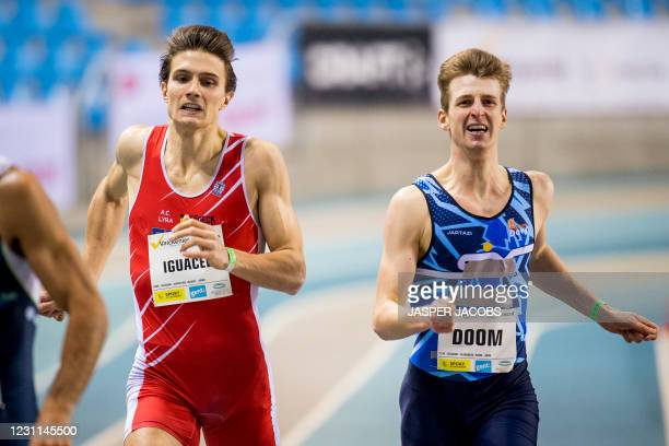 Christian Iguacel and Belgian Alexander Doom pictured in action during the IFAM Indoor, IAAF Indoor Tour Bronze Athletics Meeting, Saturday 13...
