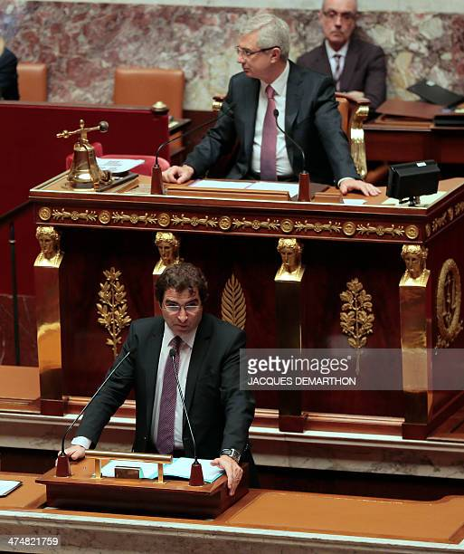 "Christian Jacob, right-wing opposition party UMP member of parliament, speaks during a debate on the extention of the ""Operation Sangaris"" military..."