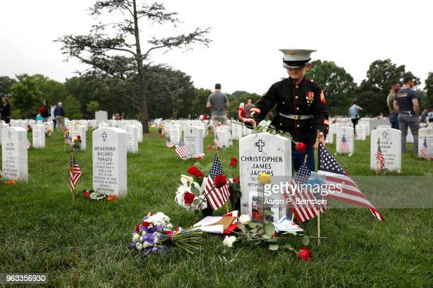 Christian Jacobs places a flower on the headstone of his father Marine Sgt Christopher Jacobs at Arlington National Cemetery on Memorial Day May 27...