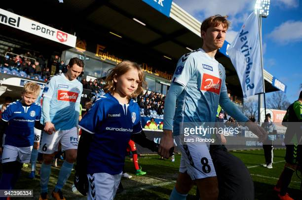 Christian Jakobsen of Sonderjyske walks on to the pitch prior to the Danish DBU Pokalen Cup quarterfinal match between Sonderjyske and Brondby IF at...