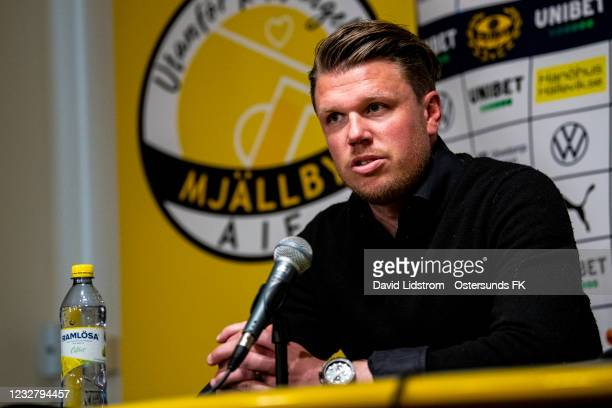 Christian Jardler, head coach of Mjallby AIF during the press conference after the Allsvenskan match between Mjallby AIF and Ostersunds FK at...