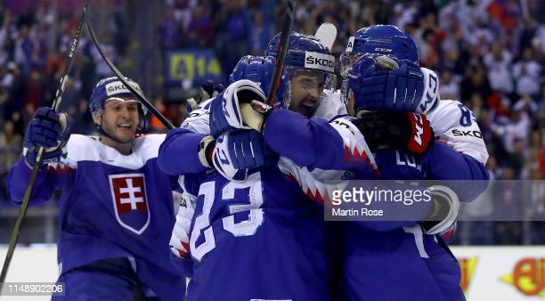 Christian Jaros of Slovakia celebrate with his team mates their 4th goal during the 2019 IIHF Ice Hockey World Championship Slovakia group A game...