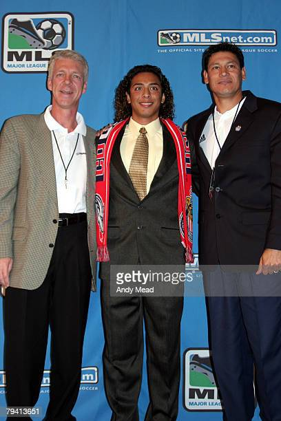 Christian Jimenez with head coach Thomas Rongen and assistant coach Martin Vazquez was taken with the second pick of the second round by CD Chivas...