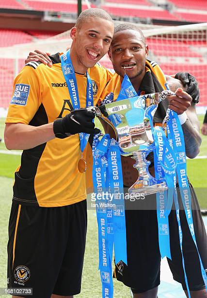 Christian Jolley and Aaron O'Connor of Newport County celebrate with the trophy after winning the Blue Square Bet Premier Conference Play-off Final...